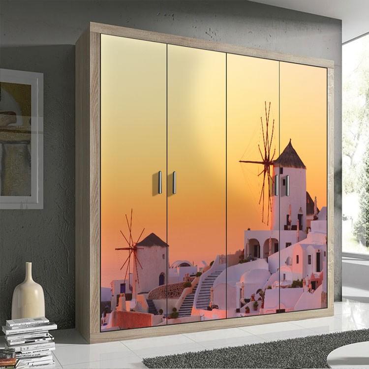 Αυτοκόλλητο Ντουλάπας Ηλιοβασίλεμα στη Σαντορίνη