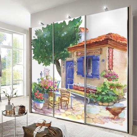 Παραδοσιακό μεσογειακό σπίτι, Πίνακας με νερομπογιά