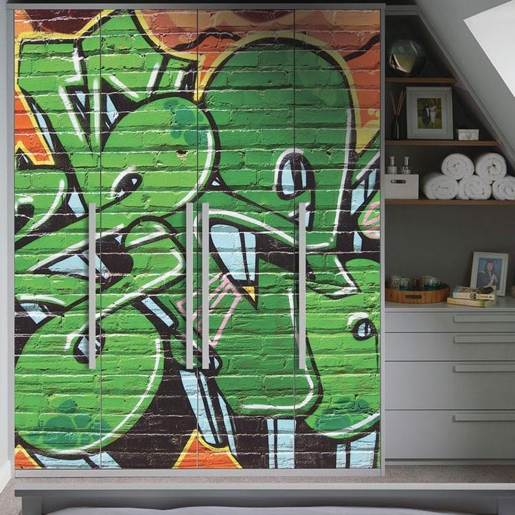 Αυτοκόλλητο Ντουλάπας Γκράφιτι τοίχου