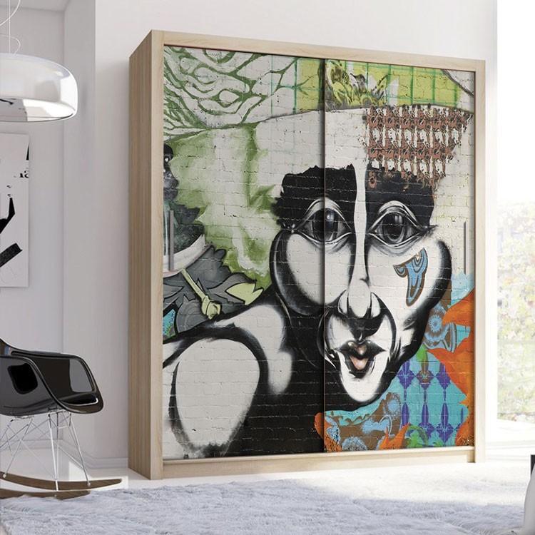 Αυτοκόλλητο Ντουλάπας Γκράφιτι πρόσωπο