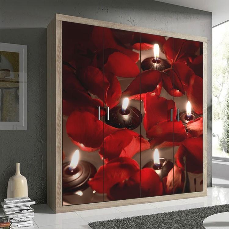 Αυτοκόλλητο Ντουλάπας Κεριά και τριαντάφυλλα
