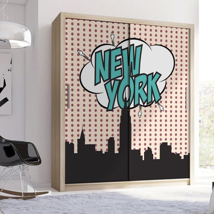 Αυτοκόλλητο Ντουλάπας Νέα Υόρκη comics