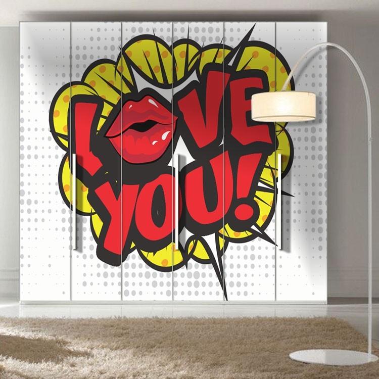 Αυτοκόλλητο Ντουλάπας Love you!