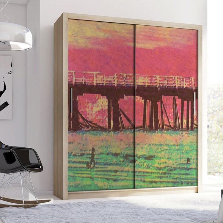 Αυτοκόλλητο Ντουλάπας Γέφυρα στο ηλιοβασίλεμα