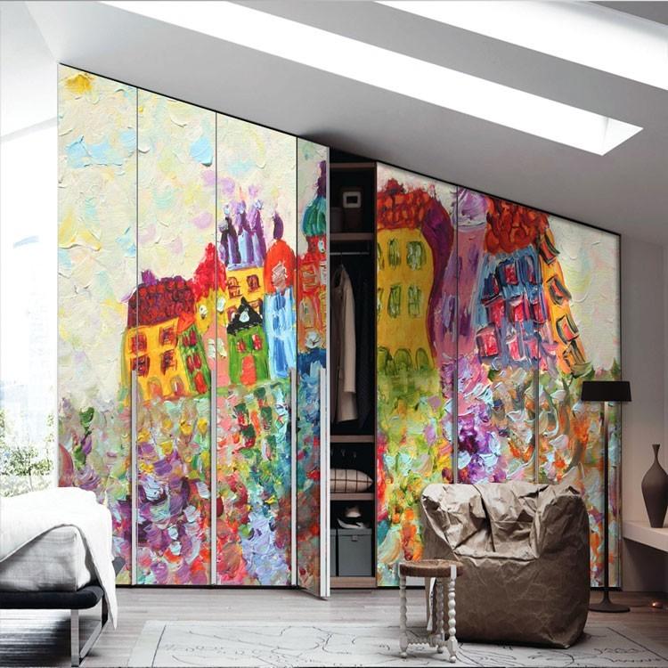 Πίνακας πολύχρωμων σπιτιών