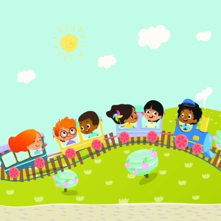 Παιδάκια Σε Τραινάκι