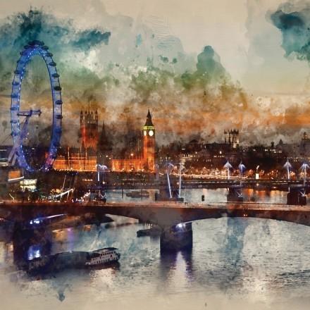 Ζωγραφιά Λονδίνου με Νερομπογιές