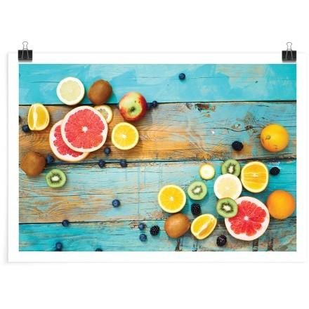 Φρούτα στο γαλάζιο ξύλο
