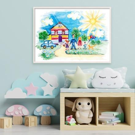 Ζωγραφισμένο σπιτάκι με οικογένεια