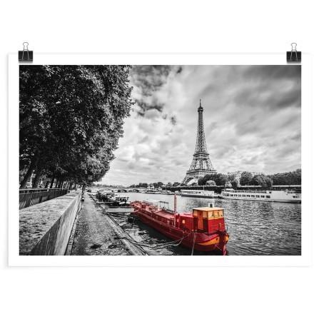 Κόκκινη βάρκα στο γκρίζο Παρίσι