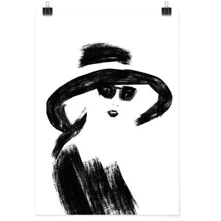 Σκίτσο κυρίας με καπέλο