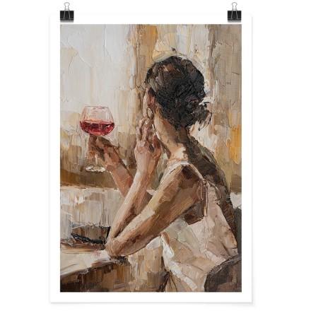 Κοπέλα με ποτήρι κόκκινο κρασί