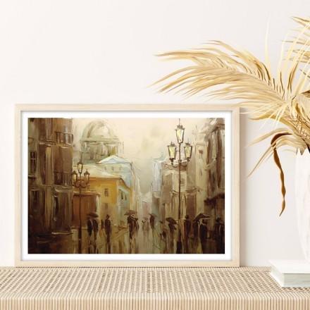 Ζωγραφισμένη βροχερή πόλη