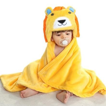 Cartoon Παιδική  Κουβέρτα Μπάνιου Κίτρινο Λιονταράκι Μπλε Αυτάκια