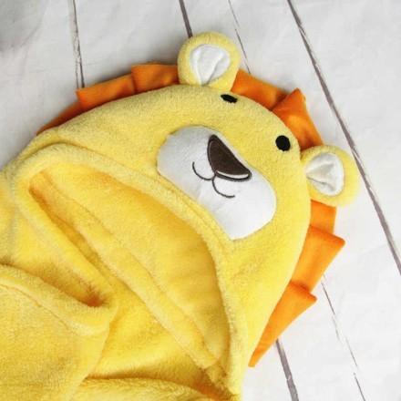 Cartoon Παιδική Κουβέρτα Μπάνιου Κίτρινο Λιονταράκι Λευκά Αυτάκια