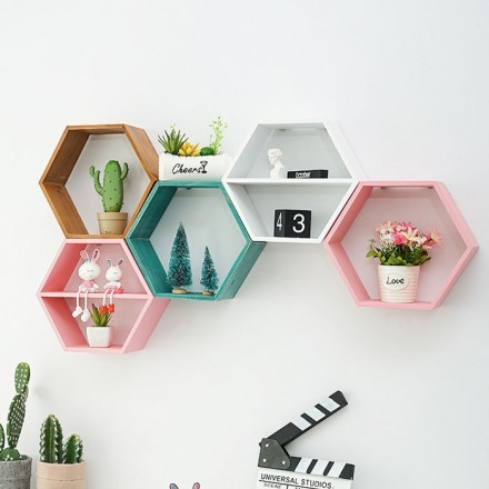 Hexagon Ξύλινο Διακοσμητικό Ράφι 44x38x10cm