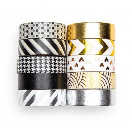 Shimmer Ταινία Διακόσμησης Χρυσό-Ασημί Σετ 6 Τεμαχίων 1,5cm x10m