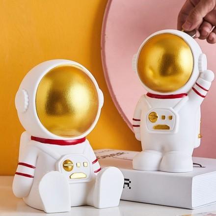 Space Κουμπαράς Αστροναύτης Λευκός PVC 12x20x19cm
