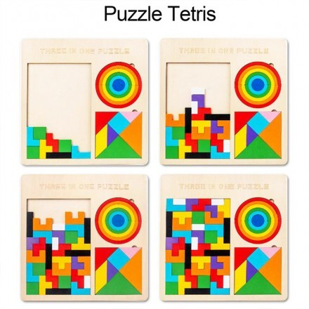 Pieces Ξύλινο Παιχνίδι 61 Κομματιών Παζλ 3 σε 1 30x30cm