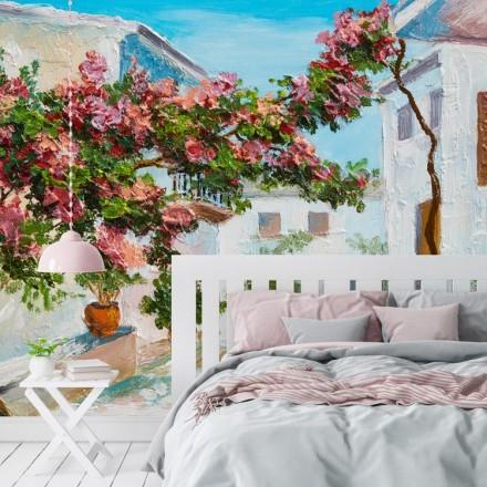 Καλοκαιρινό τοπίο από πολύχρωμα λουλούδια και δέντρα