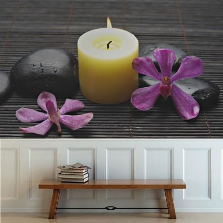 Κερί, πέτρες μασάζ και ορχιδέα