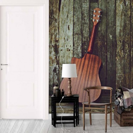 Κλασική κιθάρα σε φόντο ξύλινες τάβλες