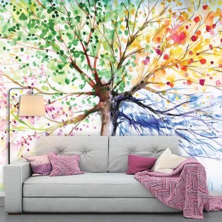 Πολύχρωμο Δέντρο Ακουαρέλα