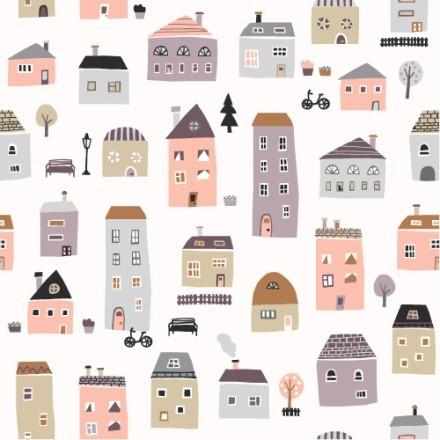 Μοτίβο με πολύχρωμα σπίτια
