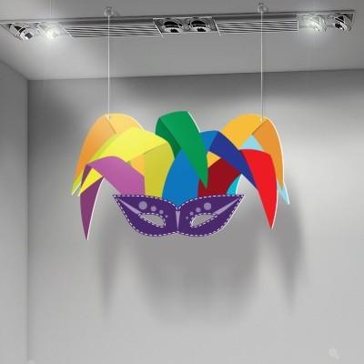 Καλό καρναβάλι πολύχρωμη μάσκα, Αποκριάτικα, Καρτολίνες κρεμαστές