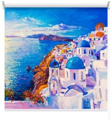 Ελαιογραφία, Ελληνικό νησί, Πόλεις - Ταξίδια, Ρολοκουρτίνες