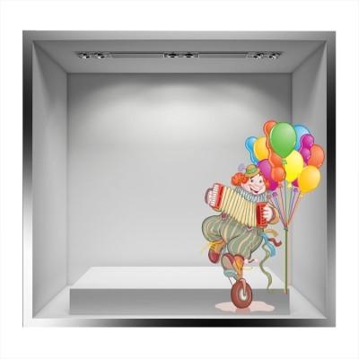 Αρλεκίνος με μπαλόνια και ακορντεόν, Αποκριάτικα, Αυτοκόλλητα βιτρίνας