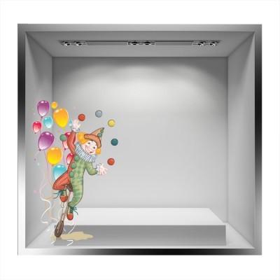 Αρλεκίνος με πολύχρωμα μπαλόνια, Αποκριάτικα, Αυτοκόλλητα βιτρίνας