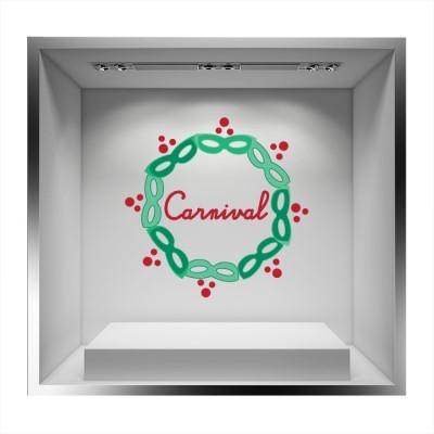 Κύκλος από πράσινες μάσκες και μέσα \'\'Carnival\'\', Αποκριάτικα, Αυτοκόλλητα βιτρίνας