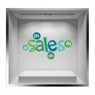 Sales πράσινο- μπλε, Άνοιξη - Καλοκαίρι, Αυτοκόλλητα βιτρίνας
