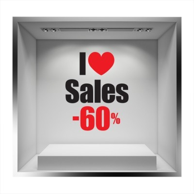 I love sales -60% με καρδιά, Εκπτωτικά, Αυτοκόλλητα βιτρίνας