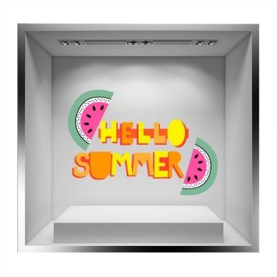 Hello Summer κίτρινο πορτοκαλί με καρπούζια, Άνοιξη - Καλοκαίρι, Αυτοκόλλητα βιτρίνας