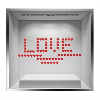 Καρδούλες που σχηματίζουν LOVE, Valentines Day, Αυτοκόλλητα βιτρίνας