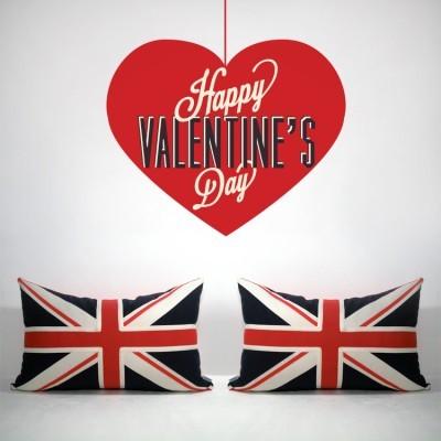 Happy Valentine Day κόκκινη καρδιά, Valentines Day, Αυτοκόλλητα βιτρίνας