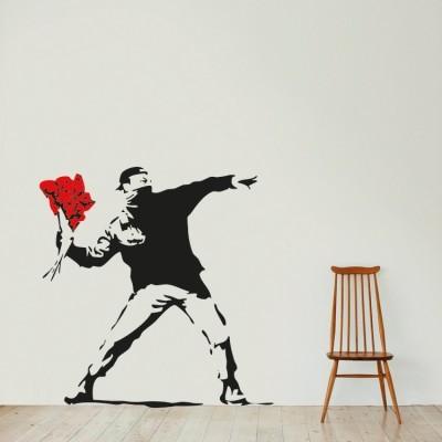 The flower thrower, Banksy, Αυτοκόλλητα τοίχου