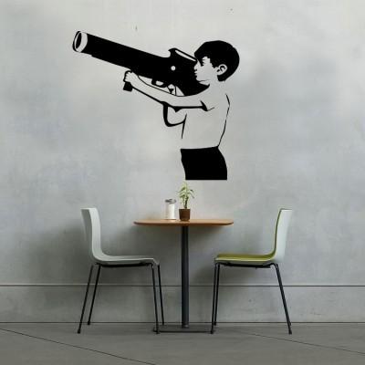 Boy with bazoo, Banksy, Αυτοκόλλητα τοίχου