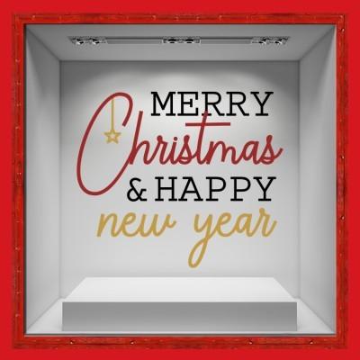 Merry Christmas & A Happy New Year, Χριστουγεννιάτικα, Αυτοκόλλητα βιτρίνας