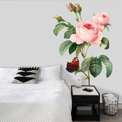 Πεταλούδα πάνω σε λουλούδι, Δέντρα - Λουλούδια, Αυτοκόλλητα τοίχου