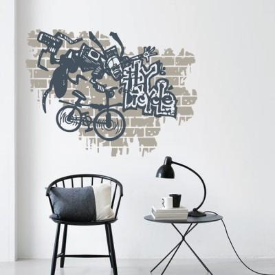 Γκράφιτι με ποδήλατο, Street art, Αυτοκόλλητα τοίχου