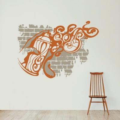 Γκράφιτι spray, Street art, Αυτοκόλλητα τοίχου