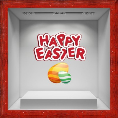 Happy Easter Red Letters, Πασχαλινά, Αυτοκόλλητα βιτρίνας