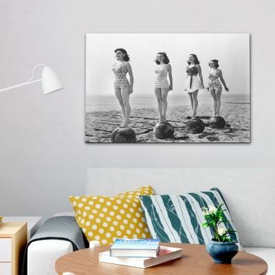 Ασπρόμαυρη Φωτογραφία Κοριτσιών, Vintage, Πίνακες σε καμβά