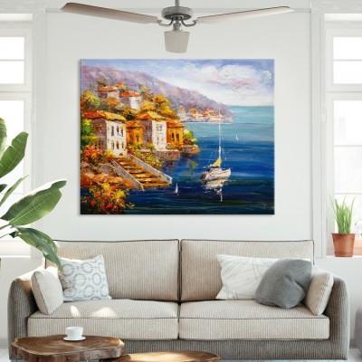 Ελαιογραφία, Θέα στο Λιμάνι, Ελλάδα, Πίνακες σε καμβά