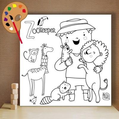 Φύλακας ζωολογικού κήπου, Μικροί ζωγράφοι DIY, Πίνακες σε καμβά