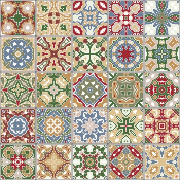 Tiles in retro colors