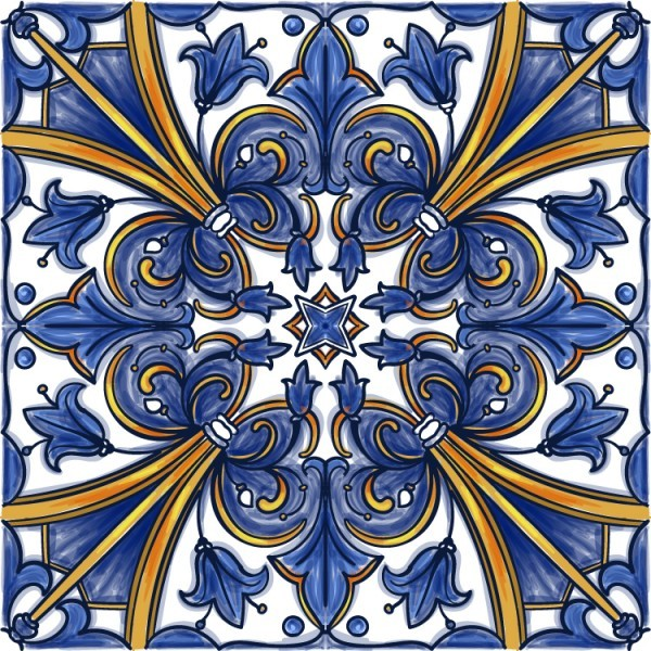 Portuguese tile in shades of blue and yellow